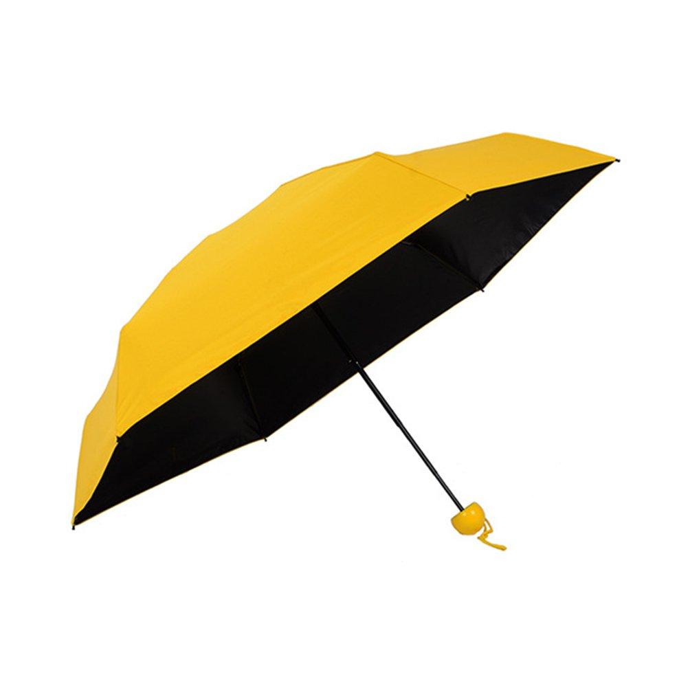 LianLe Mini bolsillo paraguas bloqueador solar protección UV bloque plegable paraguas amarillo Amarillo: Amazon.es: Hogar
