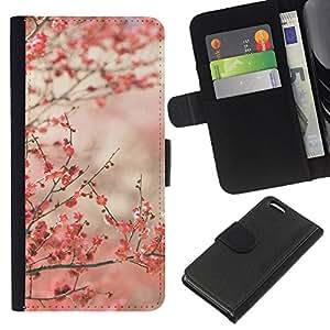 KLONGSHOP // Tirón de la caja Cartera de cuero con ranuras para tarjetas - Flores de cerezo rosa Japón Tokio - Apple Iphone 5C //