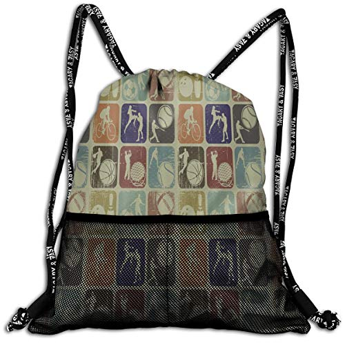 b097757d6d Slight Flight Drawstring Bag Assorted Sports Banners Vintage Grunge Effect  Tennis Soccer Bowling Knapsack With Mesh Pockets Travel Sports Day Backpack  ...