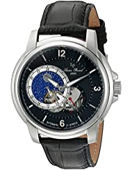 Lucien Piccard Mens Nebula Stainless Steel and Leather Automatic Watch, Color:Black (Model: LP-15156-01)