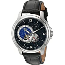 Lucien Piccard Men's 'Nebula' Stainless Steel and Leather Automatic Watch, Color:Black (Model: LP-15156-01)