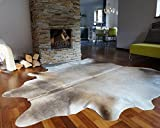 ecowhides Grey Palomino Brazilian Cowhide Area Rug, Cowskin Leather Hide for Home Living Room (Large) 6 x 6 ft