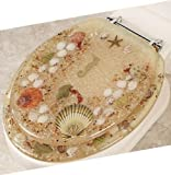 ELONGATED BEIGE JEWEL SHELL SEASHELL & SEAHORSE RESIN TOILET SEAT WITH CHROME HINGES