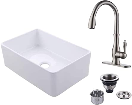 Kes 30 Inch Farmhouse Sink With Pull Out Faucet And Drain Strainer