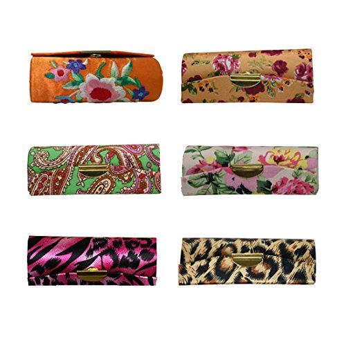 Set of 6 Ladies Lipstick Case with Mirror Purse Lip Stick Holder - Brights