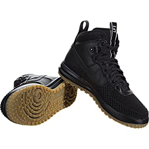Nike Mens Lunar Force 1 Duckboot Black/Black/Metallic Silver/An Boot 11.5 Men US