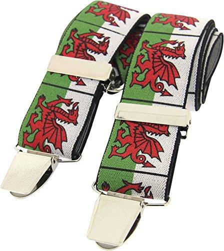 David Van Hagen Mens Welsh Dragon Braces - White/Green/Red