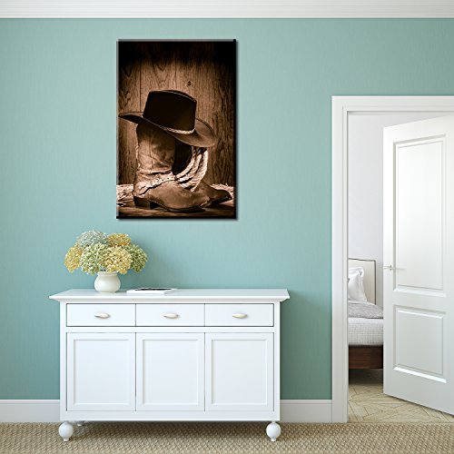 American West Rodeo Cowboy Black Felt Hat Atop Worn Western Boots Vintage Style Wall Decor ation