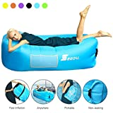 Inflatable Lounger Air Sofa Pouch Inflatable Couch Air Chair Hammock with Pillow Portable Waterproof Anti-Air Leaking for Outdoor Camping Hiking Travel Pool Beach Picnic Backyard Lakeside ( Blue )