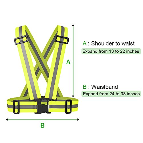 Reflective Vest Elastic & Adjustable Reflective Gear with Hi Vis Bands | High Visibility for Running,Dog Walking,Jogging,Cycling,Motorcycle Safety (2 Pack) by Sunta (Image #3)