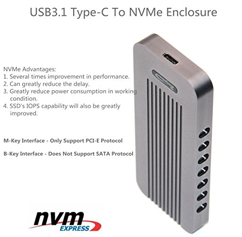 USB Type-C 10Gbps M.2 SSD Enclosure M Key, USB 3.1 To PCI-E NVMe Hard Disk Case Aluminum Design Support 2230 2242 2260 2280 Support Samsung SM951/SM961 (902 CToC, Charcoal Gray) by WBTUO (Image #7)