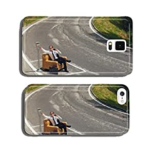 businessman sitting on armchair in the middle of the road cell phone cover case iPhone5