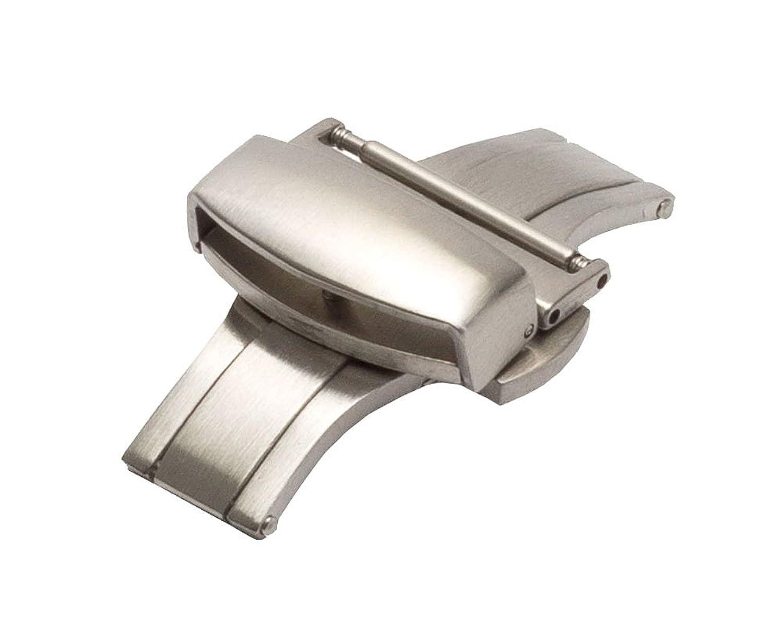 18 mm BrushedステンレスPush Button Deployment / Deployant Clasp for時計バンド  B01M0K18UI