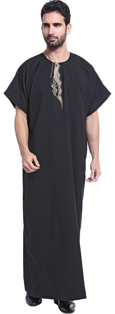 Ababalaya Men's Short Sleeve Scoop Neck Embroidered Muslim Thobes Dishdasha Easter Wear, Black, XXL