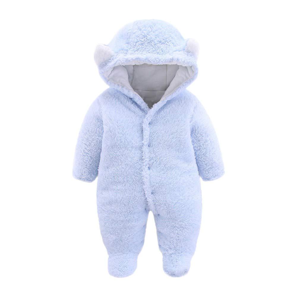 WUAI Newborn Baby Boy Girl Hoodie Fleece Pram Snowsuit Cartoon Ear Velvet Hooded Jumpsuit Romper Clothes(Light Blue,0-3Months) by WUAI-Baby