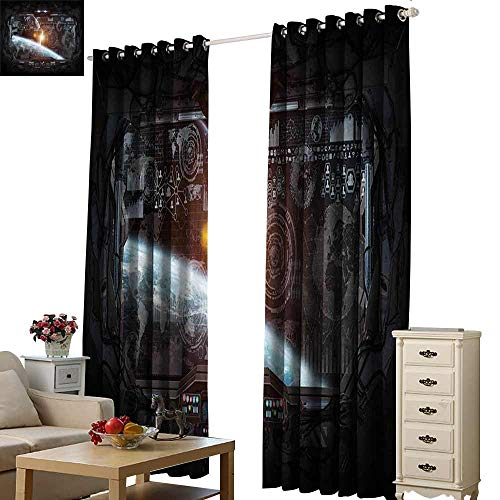 (Outer Space Decor Decor Curtains Control Panel of Cockpit Screen in Spaceflight Androids World Stardust Darkening and Thermal Insulating W96 x L108)