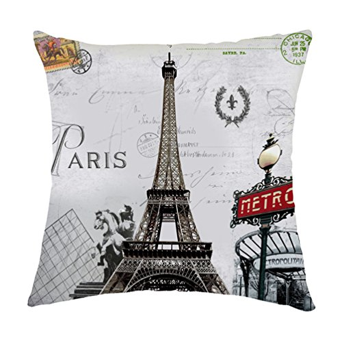 Rosy Clouds Paris Metro Sign Eiffel Tower Retro Stamp Pattern Square Polyester Decorative Throw Pillow Cases Cushion Covers 16 X 16 - Sign Metro