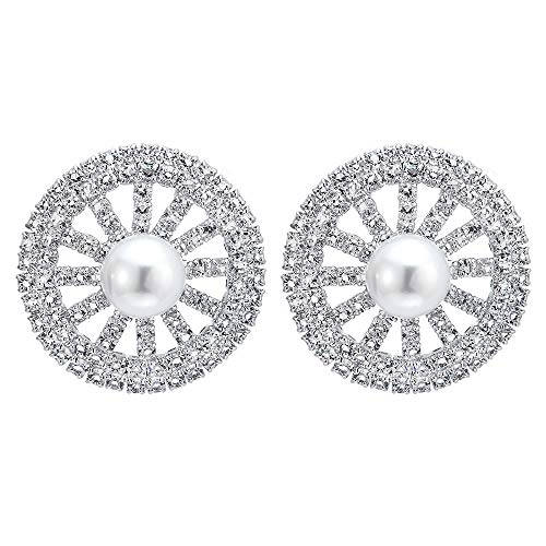 (Elegant Large Statement Earring, Rhinestones Synthetic Pearl Cluster Circle Dome Wedding Dress Party)