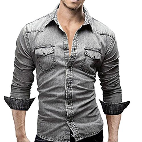 Usstore Men's Top Fashion Retro Denim Long Sleeve T-Shirt Thin Cowboy Blouse (Gray, XXL) by Usstore