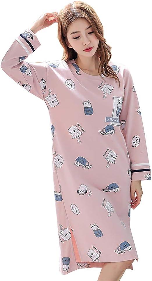 LW Camisón de Mujer Largo, algodón Suelto Cómodo Manga Larga ...