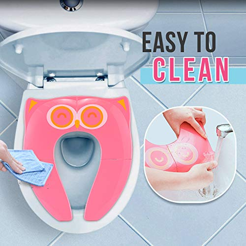 Gimars Non Slip No Falling Travel Folding Portable Potty Training Seat Fits Most Toilets, 6 Large Non-slip Silicone Pad, Home Reusable with Carry Bag for Toddlers Kids Boy Girl, Pink