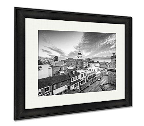 Ashley Framed Prints Annapolis Maryland USA, Wall Art Home Decoration, Black/White, 26x30 (frame size), Black Frame, - Arundel In Shops