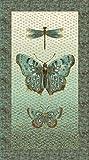 Flight Of Fancy Metallic Butterfly Panel Northcott Cotton Fabric 21662M-34