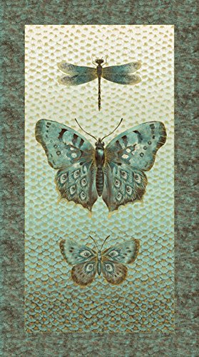 Flight Of Fancy Metallic Butterfly Panel Northcott Cotton Fabric 21662M-34 by Flight Of Fancy