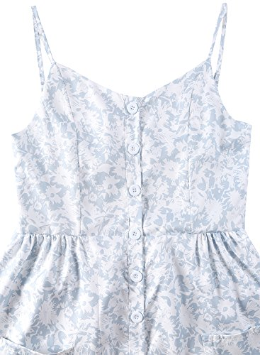 Bouton Casual t sans Robe Blanche Turquoise Rond Floral Femme Tournesol Fermer Manches lgant Sexy BMJL Longue Col Plage qCSUwBB