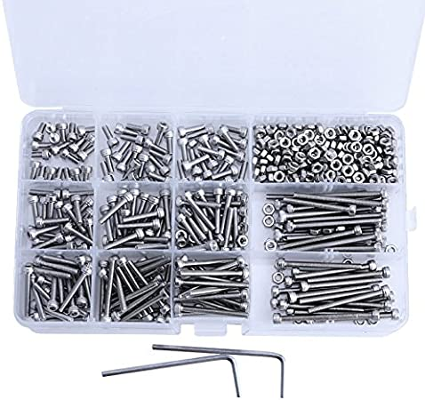 220 Pcs M3 Stainless Steel Hex Head Socket Cap Screws Nuts Assortment Set Kit