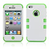 iPhone 4S Case, MagicMobile Hybrid Impact Shockproof Cover Hard Armor Shell and Soft Silicone Skin Layer [ White - Green ] with screen protector and stylus