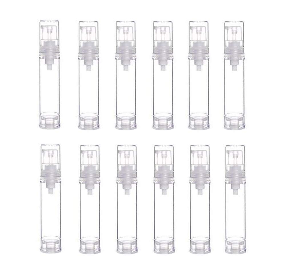 12Pcs Portable Empty Refillable Clear Plastic Airless Vacuum Pump Bottle Cosmetic Make-up Cream Lotion Sample Packing Toiletries Liquid Storage Container Vial Jars(10ml/0.34oz)