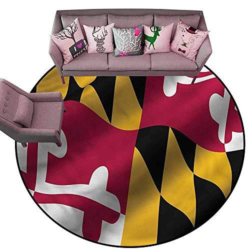 Maryland Floor - Outdoor Floor Mats American,Maryland Flag US State Diameter 72