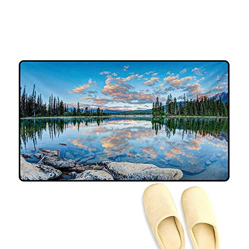 Bath Mat,Long View of Golden Sunrise Skyline at Pyramid Lake Tranquility Canadian Scenery,Door Mats for Inside Non Slip Backing,Blue Green,20
