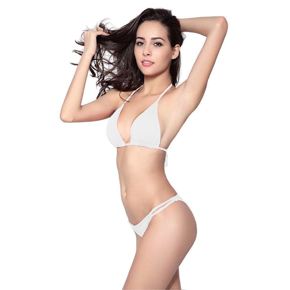 iLUGU Two Pieces Bikini For Women Triangle Tops Briefs Swimwear Swimsuit Beachwear