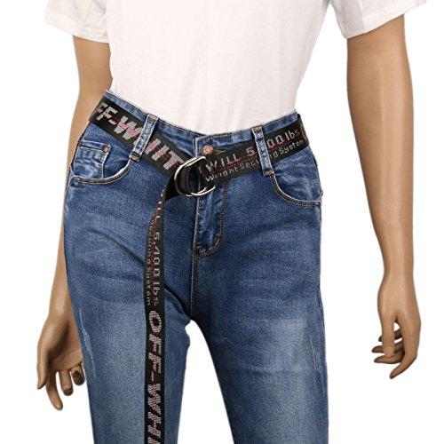 Damara Womens Canvas Belt D-Ring Buckle Adjustable Letter Printed Design,Black