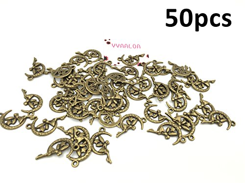 YYaaloa 50pcs 26x16mm Moon and Angel Vintage Style Charms Pendant for Necklace Bracelet Crafting Jewelry Making Accessory (Moon and Angel Charms 50pcs Bronze) (Ikea's Halloween)