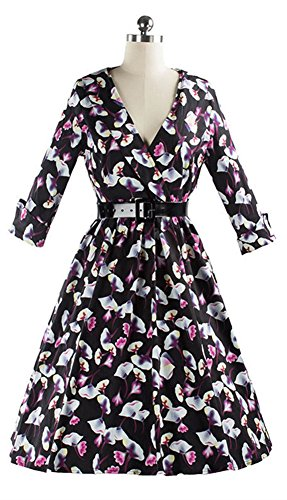 SiYuan Womens Floral Printing Vintage Dress US L/Asian XL Black - Asian Flat Face