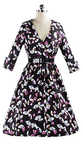 SiYuan Womens Floral Printing Vintage Dress US L/Asian XL Black - Flat Asian Face