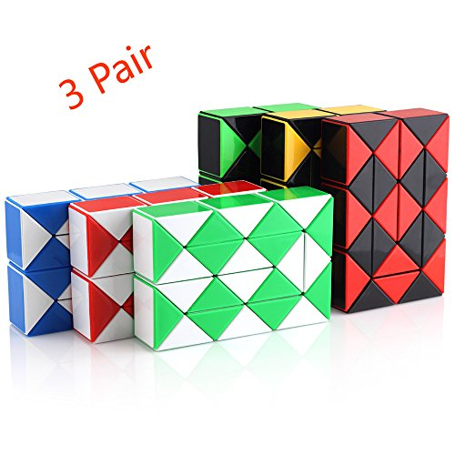 Triangle Magic Cube - Magic Snake Cube Twist Puzzle Collection of 6 Fun Snake Toys Kids Magic Sets for Children 24 Wedges - 3Pair - Ganowo