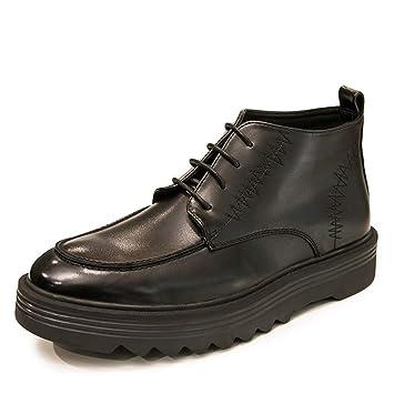 YAN Botas para Hombre, Moda Botas de Martin High-Top Zapatos de Herramientas británicos Ocasionales Botines de Moda Zapatos Casuales Otoño Invierno Negro, ...