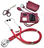ASATechmed Nurse/EMT Starter Pack Stethoscope, Blood Pressure Monitor and Free Trauma 7.5'' EMT Shear Ideal Gift for Nurse, EMT, Medical Students, Firefighter, Police and Personal Use (Burgundy)