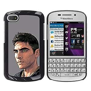 Paccase / SLIM PC / Aliminium Casa Carcasa Funda Case Cover - Dude Man Painting Art Handsome - BlackBerry Q10