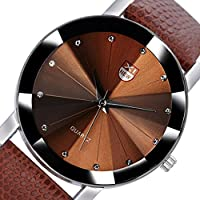 Wensltd Men's Classy Stainless Steel Quartz Military Sport Leather Band Dial Wrist Watch (coffee)