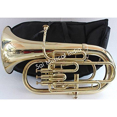 Queen Brass Euphonium Bb Flat 4 Valve Shinning Brass 100% Brass with Mouth Piece & Bag Free by Queen Brass