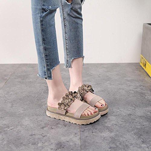 L Zapatilla Toe Zapatos KJJDE Para Flores Sandalias Peep Mujer Caminar Creativas Camel Tacón Chanclas K3 Confort hah qERXUE