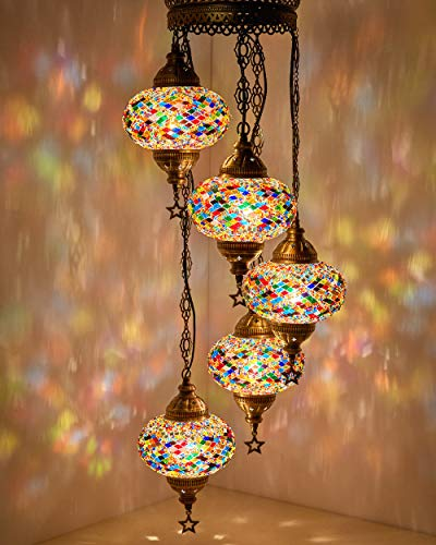 DEMMEX Turkish Moroccan Mosaic Hardwired OR Swag Plug in Chandelier Light Ceiling Hanging Lamp Pendant Fixture (5 X 6.5
