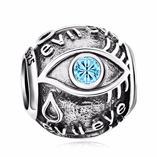 Angemiel 925 Sterling Silver Blue CZ Evil Eye Charms Bead for European Snake Chain Bracelets