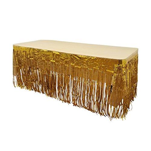 New! Set Of Gold Metallic Foil Fringe Table Skirt 30