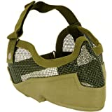 NEW AIRSOFT PAINTBALL TACTICAL METAL MESH HALF MASK w/ EAR PROTECTION GREEN